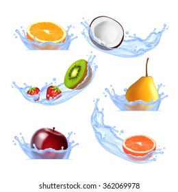 Fruits in splashing water. Set of vector icons. EPS10 vector