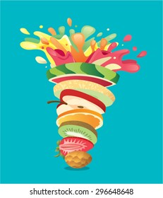 Fruits stack mixed juice splash twister - pineapple, strawberry, kiwi, orange, apple, melon, watermelon