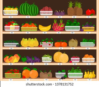 Fruits supermarket shelves. Food farm store interior with fruit showcase, fresh grocery shop with eco ripe apples and strawberries, dragonfruit and pineapples vector illustration