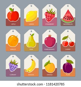 Fruits tags. Fresh healthy food apples oranges berries tropical fruta collection badges or labels vector template
