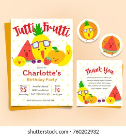 Fruits theme Birthday Invitation Set, Tutti Frutti theme