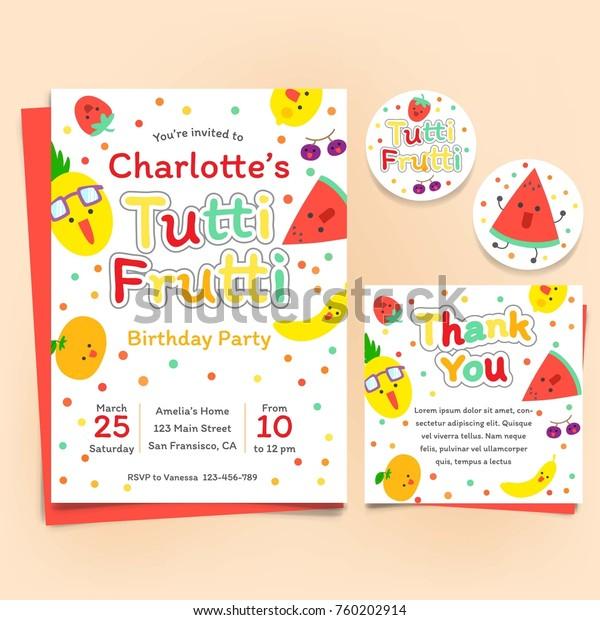 Fruits Theme Birthday Invitation Set Tutti Stock Image Download Now