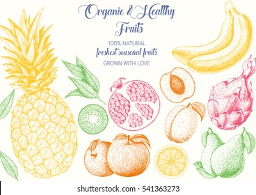 Fruits top view frame with pitaya, pomegranate, banana, pineapple, apple, kiwi, peach. Farmers market menu design. Healthy food poster. Vintage hand drawn sketch, vector illustration. Linear graphic.