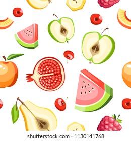 Fruits vector seamless pattern