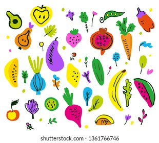 Fruits and vegetable decorative set, sketchy style. Vector graphic illustration