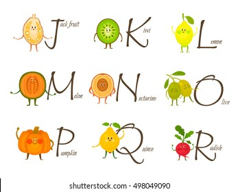 Fruits and vegetables alphabet. Vector illustration with funny characters. Alphabet and fruit vector set from J to R. English capital letter with healthy food.