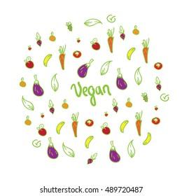 fruits vegetables background colored vegan sign