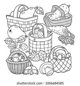 Fruits and vegetables in baskets. Set of cartoon vector hand drawn abstract elements