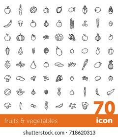 Fruits and vegetables collection. Big vector icon set. Healthy vegetarian food. Modern line style illustrations. Isolated background