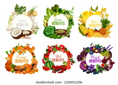 Fruits and vegetables, detox color diet vector icons. Berries and nuts, herbs, spices and dried fruits. Food sorted by colors for proper nutrition and dieting program, benefits for health and immunity