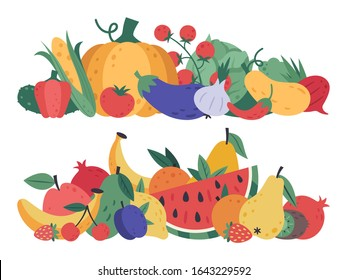 Fruits and vegetables. Doodle food, stack of vegetables and fruits, healthy lifestyle and vegan vitamins raw diet, natural fruits and greens isolated vector cartoon detox menu vegetarian elements