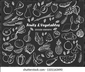 Fruits and vegetables drawn on blackboard. Vector freehand illustration isolated on black background.