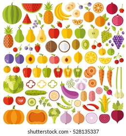 Fruits and vegetables flat icons set. Colorful flat design graphic elements, illustrations collection for web sites, mobile apps, web banners, infographics, printed materials. Vector icons