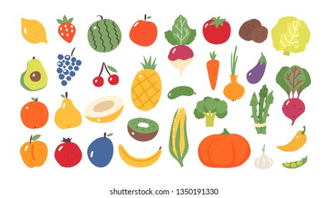 Fruits and vegetables. Flat style. Food isolated.