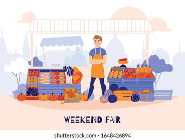 Fruits vegetables greens seller composition with human character in front of fruits stall with market background vector illustration