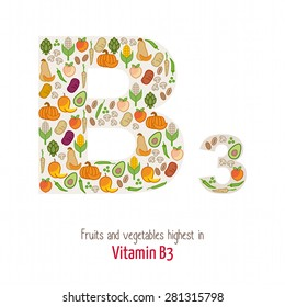 Fruits and vegetables highest in vitamin B3 composing B3 letter shape, nutrition and healthy eating concept