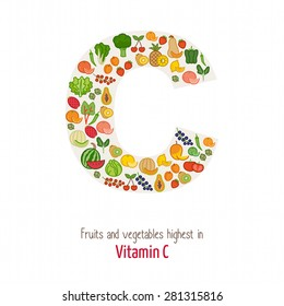 Fruits and vegetables highest in vitamin C composing C letter shape, nutrition and healthy eating concept