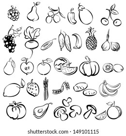 fruits and vegetables icon set sketch vector illustration