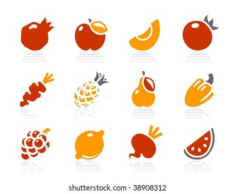 Fruits and vegetables icons. Vector icon set. Three color icons.