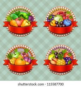 Fruits and vegetables labels set