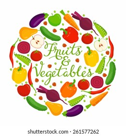 Fruits and vegetables lettering. Vector fruits and vegetables with a lettering on a white background.