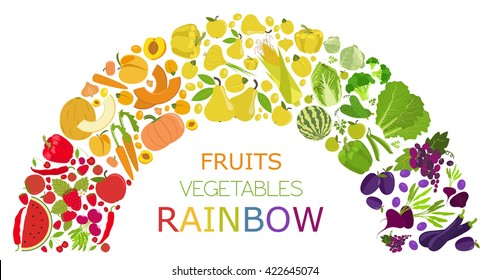 Fruits and vegetables. Nutrition rainbow. Icon set. Vector illustration