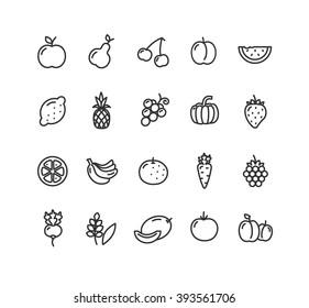 Fruits and Vegetables Outline Black Icon Set. Vector illustration