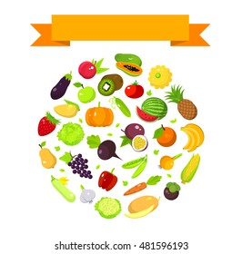 Fruits and vegetables set in a round shape with a space for text and ribbon, harvest banner template, vector flat illustration