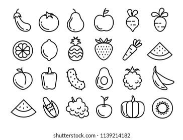 Fruits and vegetables set. Vector illustration.