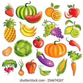 Fruits  and vegetables set vector illustration