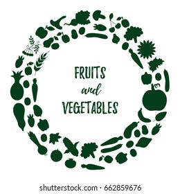 Fruits vegetables silhouettes round vector border