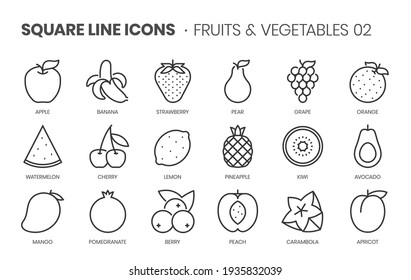 Fruits and vegetables two, square line icon set. The illustrations are a vector, editable stroke, thirty-two by thirty-two matrix grid, pixel perfect files.