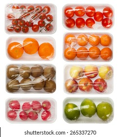 fruits and vegetables in vacuum packing, vector