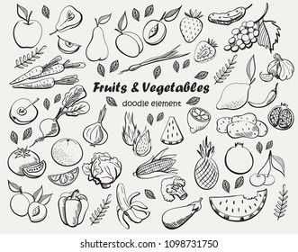 Fruits and vegetables.  Vector freehand illustration isolated on white background.