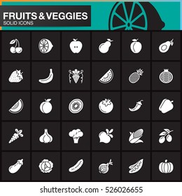 Fruits and vegetables vector icons set, modern solid symbol collection, filled pictogram pack isolated on black, logo illustration