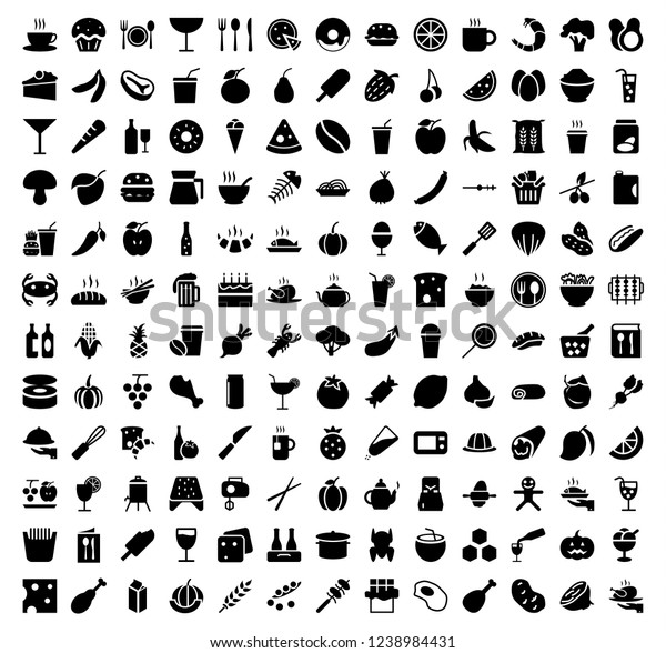 Fruits and vegetables vector icons set, modern solid symbol collection,