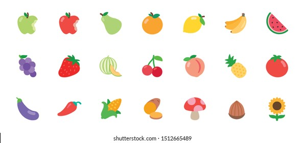 Fruits and Vegetables Vector Illustration Icons Set. Vegetarian Foods. Fresh Organic Food Flat Icons, Emojis, Symbols, Stickers Collection