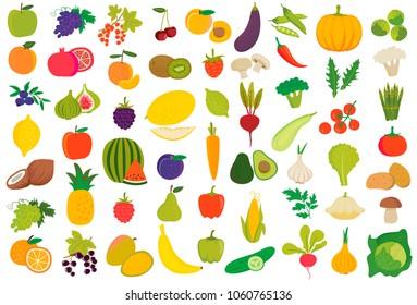 Obst und Gemüse in Vektorgrafik