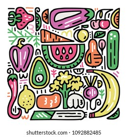 Fruits and veggies colourful collection. Organic and healthy food concept. Handdrawn vector illustration for signboards, menu and banner designs.