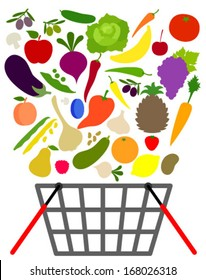 fruits and veggies with shopping basket
