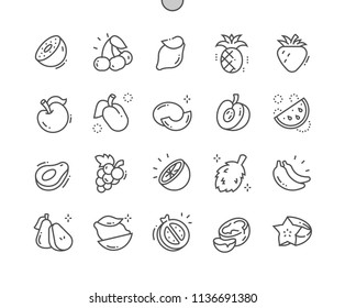 Fruits Well-crafted Pixel Perfect Vector Thin Line Icons 30 2x Grid for Web Graphics and Apps. Simple Minimal Pictogram
