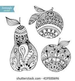 Fruits zentangle stylized, vector illustration, hand drawn pencil. Apple, pear, orange. Lace. Zen art.