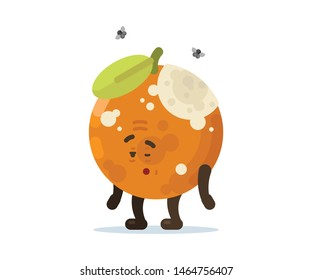 Fruity Moods and Activities with Face Expressions Old Rotten Orange