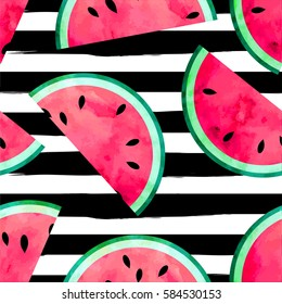 Fruity seamless vector pattern with watercolor paint textured watermelon pieces. Striped background.