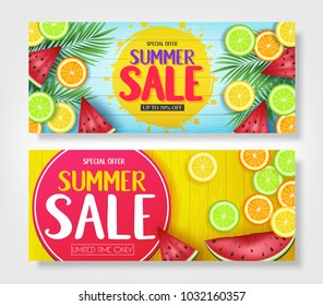 Fruity Summer Sale Colorful Banners with Watermelon, Orange, Lime and Lemon Tropical Fruits in Blue and Yellow Wooden Background Vector Illustration. For Promotional Purposes