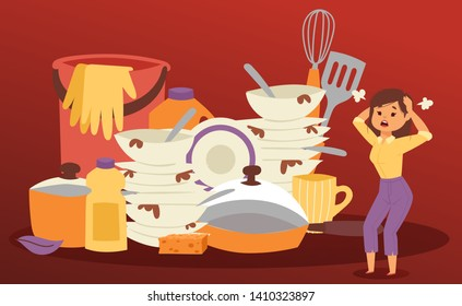 Frustrated and angry woman is screaming out loud and pulling her hair. Dirty dishes and housework. Multitasking woman. Angry Woman. Furious Girl. Negative Emotions. Bad Mood. Stressed female.