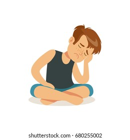 Frustrated boy sitting on the floor in lotus position character vector Illustration