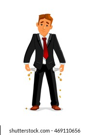 Frustrated broke businessman turns out his empty pockets. Sad bankrupt businessman has no money after financial failure. Business concept of financial crisis and bankruptcy