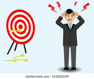 Frustrated business man when seeing inaccurate and missing target on dartboard, isolated on light blue background. Vector Illustration. Idea for missing and failure marketing.