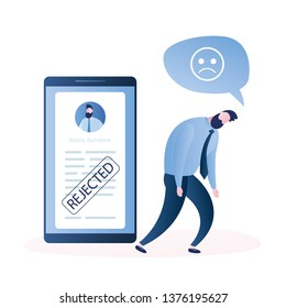 Frustrated businessman or clerk,Smartphone screen with Refusal to grant a loan or job, blank or cv resume with stamp-rejected,Male character in trendy simple style,flat vector illustration